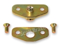 65-66 DOOR STRIKER PLATE WITH SCREWS (DATED) WITH CORRECT GOLD FINISH
