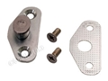 67 DOOR STRIKER PLATE WITH SHIM AND SCREWS (DATED 8-66) WITH CORRECT SILVER FINISH