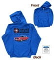 VIRGINIA CLASSIC MUSTANG FULL ZIP HOODED SWEATSHIRT WITH 1965 MUSTANG CONVERTIBLE DESIGN * SPECIFY SIZE*