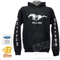 FORD MUSTANG PONY HOODED SWEATSHIRT WITH MUSTANG ON SLEEVES - BLACK *SPECIFY SIZE*