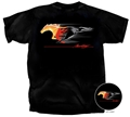 BLACK FLAMING RUNNING HORSE T-SHIRT *INDICATE SIZE*