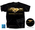 Black Mustang T-Shirt with Gold Running Horse and 50 Years
