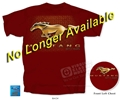 Red Mustang T-Shirt With Gold Running Horse