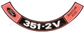 70-71 351-2V REGULAR FUEL AIR CLEANER DECAL