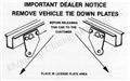 65-73 REAR TIE-DOWN SHIPPING LABEL