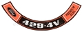 71 429-4V PREMIUM FUEL AIR CLEANER DECAL