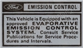 70 CALIF EVAPORATION EMISSION DECAL