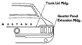 67-68 RH COUPE/CONVERTIBLE QUARTER PANEL EXTENSION MOLDING