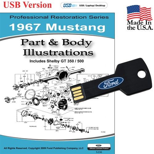 1967 MUSTANG PARTS AND BODY ILLUSTRATIONS ON CD