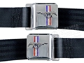 Mustang Seat Belt Set - Chrome Buckle with Running Horse Emblem