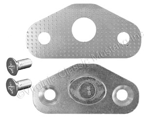 68-70 DOOR STRIKER PLATE WITH SHIM AND SCREWS (DATED 11-67) WITH CORRECT SILVER FINISH