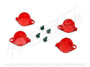 65-66 INSTRUMENT LIGHT COVER SET-RED/ORANGE