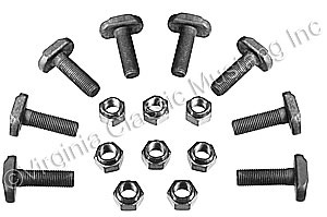 "65-68 V8 REAR AXLE RETAINER PLATE ""T"" BOLTS AND NUTS"