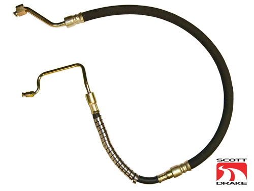 67-68 SMALL BLOCK LONG POWER STEERING PRESSURE HOSE - EXACT STYLE