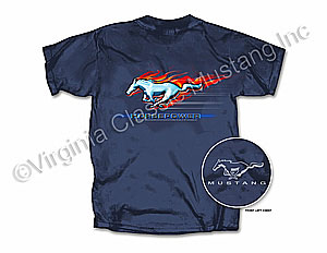 FLAMING HORSEPOWER T-SHIRT-DARK BLUE *INDICATE SIZE*