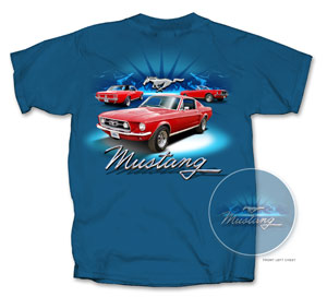 67 AND 68 MUSTANG T-SHIRT-BLUE *INDICATE SIZE*