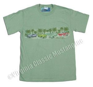 LIGHT GREEN MUSTANG T-SHIRT WITH BAND OF MUSTANGS-LIGHT GREEN *INDICATE SIZE*