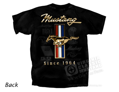 BLACK MUSTANG T-SHIRT WITH GOLD RUNNING HORSE SINCE 1964 LOGO