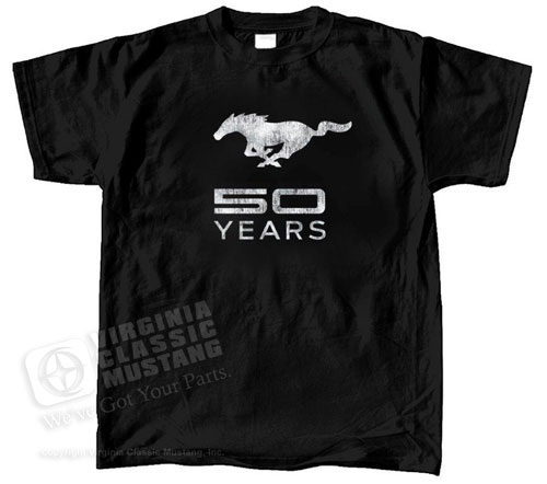 BLACK MUSTANG T-SHIRT WITH 50TH ANNIVERSARY LOGO WITH RUNNING HORSE