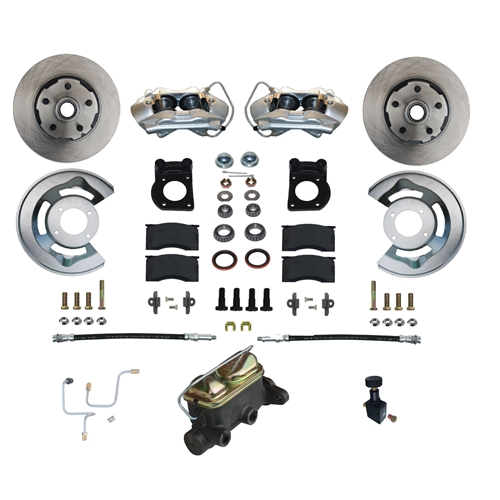 65-66 FRONT DRUM TO DISC BRAKE CONVERSION KIT WITH DUAL RESERVOIR MASTER CYLINDER
