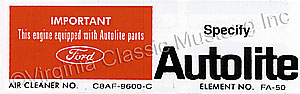 68 289,302 AUTOLITE REPLACEMENT PARTS DECAL