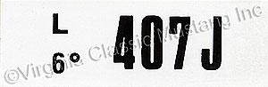 68 1/2 428 CJ ENGINE CODE DECAL   407J
