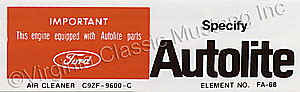 69 250 AUTOLITE REPLACEMENT PARTS DECAL
