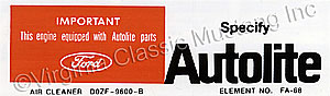 69-70 250 AUTOLITE AIR CLEANER REPLACEMENT PARTS DECAL