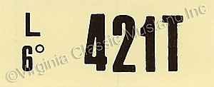 69-70 428 CJ AT ENGINE CODE DECAL  421T