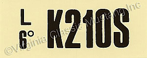 69-70 GT-350 MT ENGINE CODE DECAL  K210S