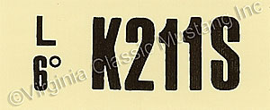 69-70 GT-350 AT ENGINE CODE DECAL  K211S