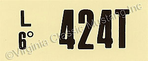 69-70 428 SCJ MT ENGINE CODE DECAL  424T