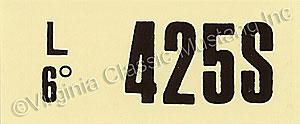 69-70 428 SCJ AT ENGINE CODE DECAL  425S