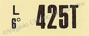 69-70 428 SCJ AT ENGINE CODE DECAL  425T