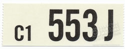 65 289-4V AUTO TRANS ENGINE CODE DECAL 553J
