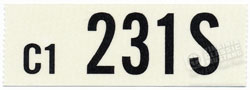 66 289-2V MANUAL TRANS ENGINE CODE DECAL 231S