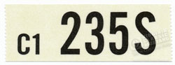 66 289-4V AUTO TRANS ENGINE CODE DECAL 235S