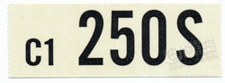 66 289-4V MANUAL TRANS ENGINE CODE DECAL 250S