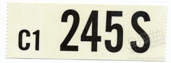 66 289 HIPO MANUAL TRANS ENGINE CODE DECAL 245S