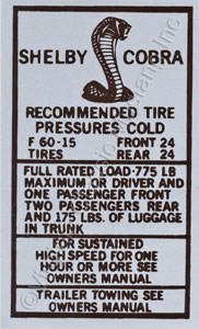 69-70 SHELBY TIRE PRESSURE DECAL