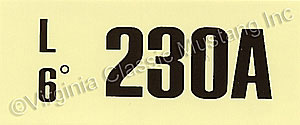 67 289-2V AT ENGINE CODE DECAL (230A)
