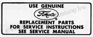 66-67 AIR CLEANER SERVICE INSTRUCTION DECAL