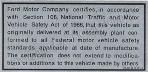 68-69 TRUNK EMISSION CERTIFICATION DECAL *CONCOURS*