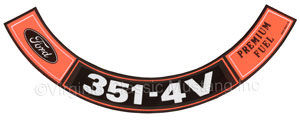 70-71 351-4V PREMIUM FUEL AIR CLEANER DECAL