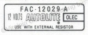 66-70 AUTOLITE COIL DECAL