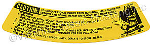 68-73 SPACE SAVER WHEEL INSTRUCTION DECAL