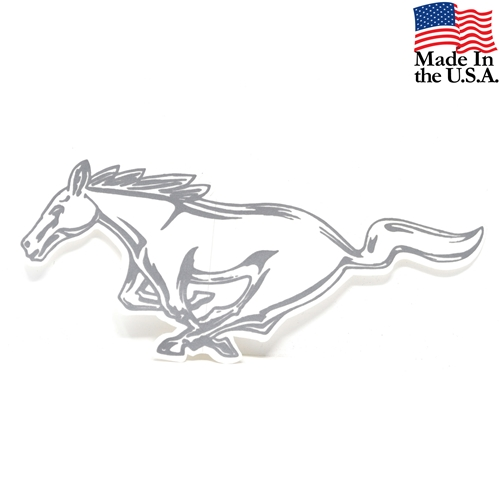 "LH SILVER RUNNING HORSE DECAL 8""  DZ-249"