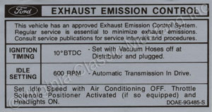 70 351-2V EMISSION DECAL DOAE-9C485-S