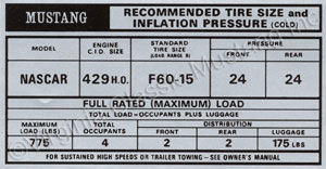 69-70 BOSS 429 TIRE PRESSURE DECAL *CONCOURS*