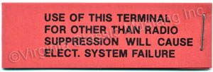 VOLTAGE REGULATOR RADIO WARNING TAG